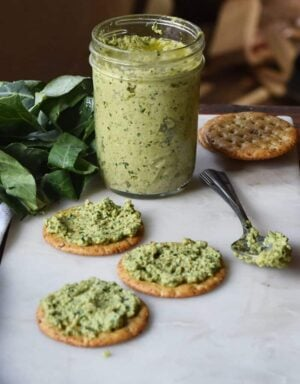 A twist on the traditional pesto recipe with collard greens and olives!