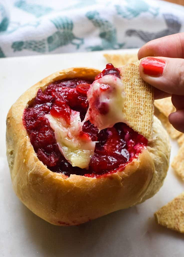 Baked Brie and cranberries (in bread bowls)