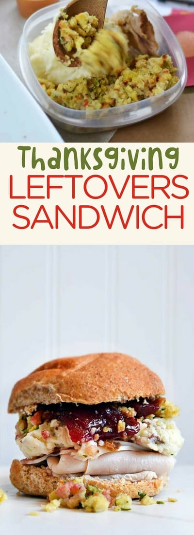 Thanksgiving leftovers sandwich is a fun and delicious way to eat the leftovers!