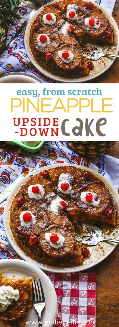 This easy, from scratch Pineapple Upside-Down Cake is just like Grandma's homemade recipe. Butter cake and sweet gooey pineapple just like a Pineapple Upside down cake should be!