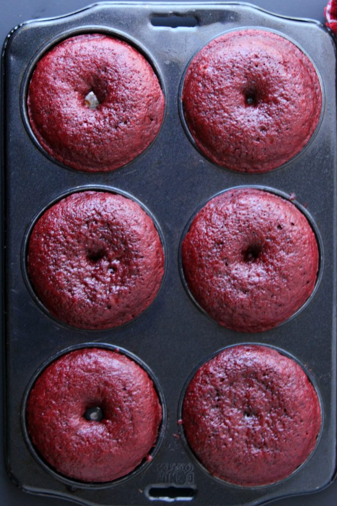 red velvet donuts in a donut pan