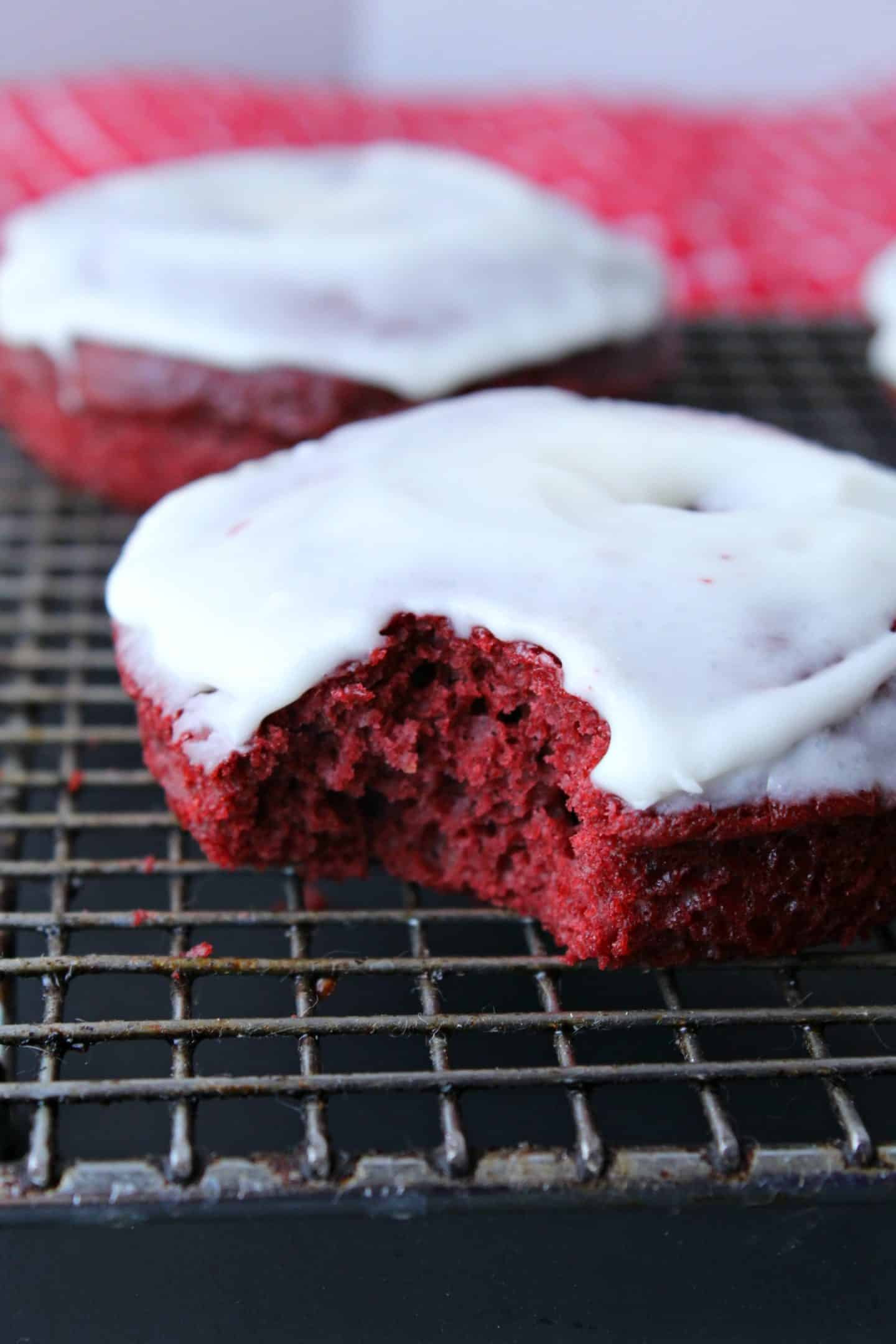 Baked Red Velvet Donuts with Cream Cheese Frosting