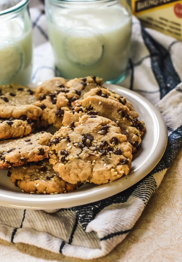 Chocolate chip shortbread cookies on a plate.