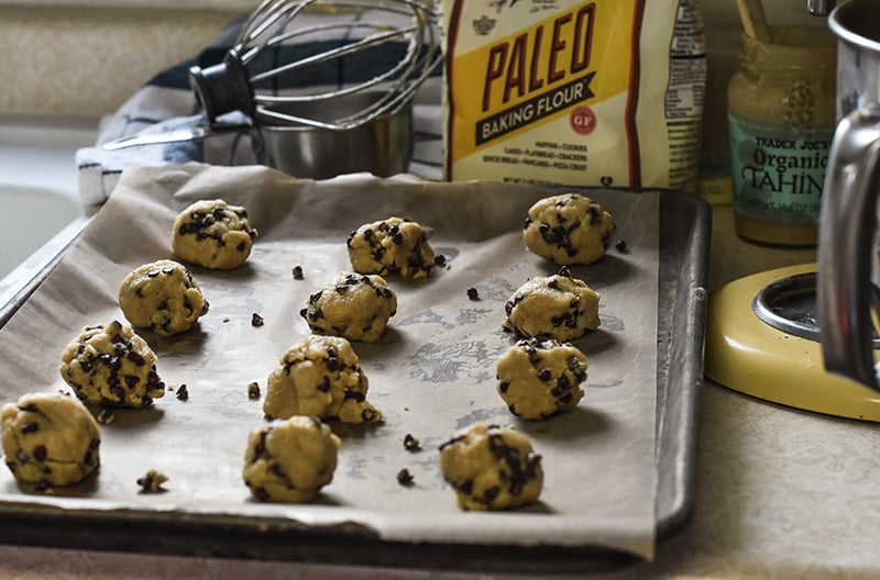 Chocolate chip Shortbread Cookies on a pan.