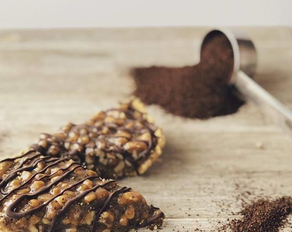 coffee and nut caramel tart. no-bake