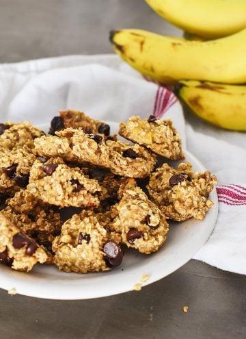 Chocolate Chip Walnut Banana Cookies (2-ingredient)