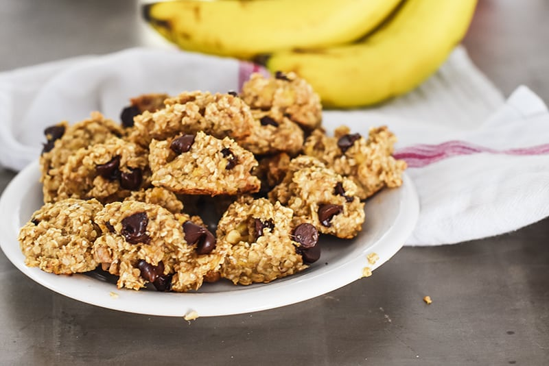 easy banana cookies with only 2 ingredients (we added chocolate chips and walnuts)
