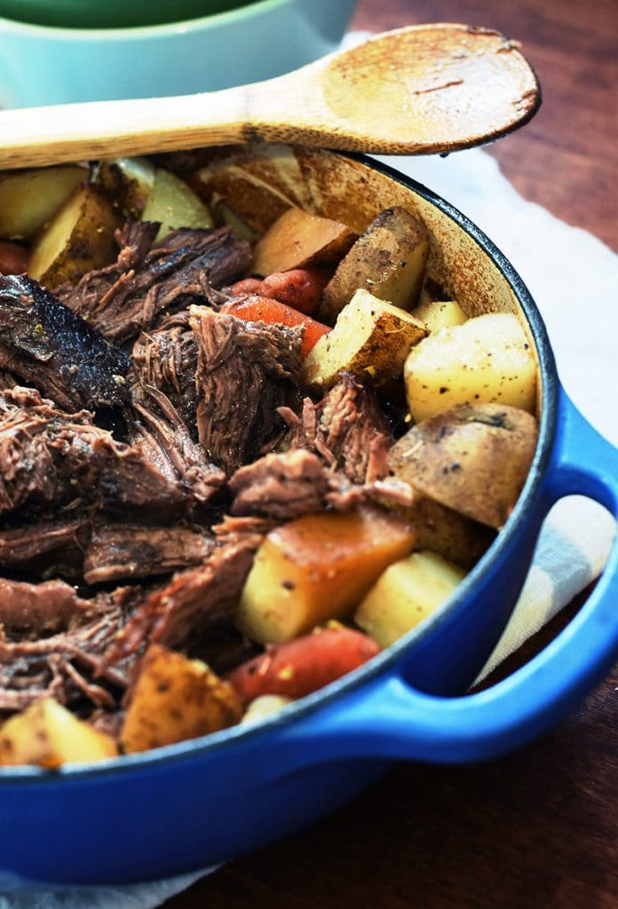 easy oven pot roast in a dutch oven.