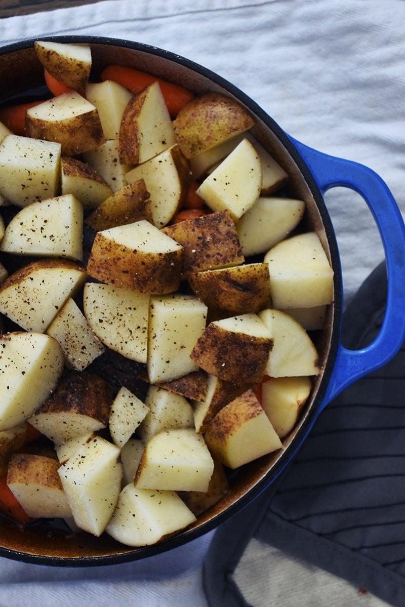 Veggies in an easy pot roast recipe.