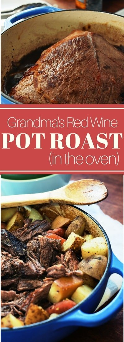 This easy oven pot roast is the perfect family Sunday supper. The BEST pot roast is made in the oven with only a few ingredients (wine is one of them!)
