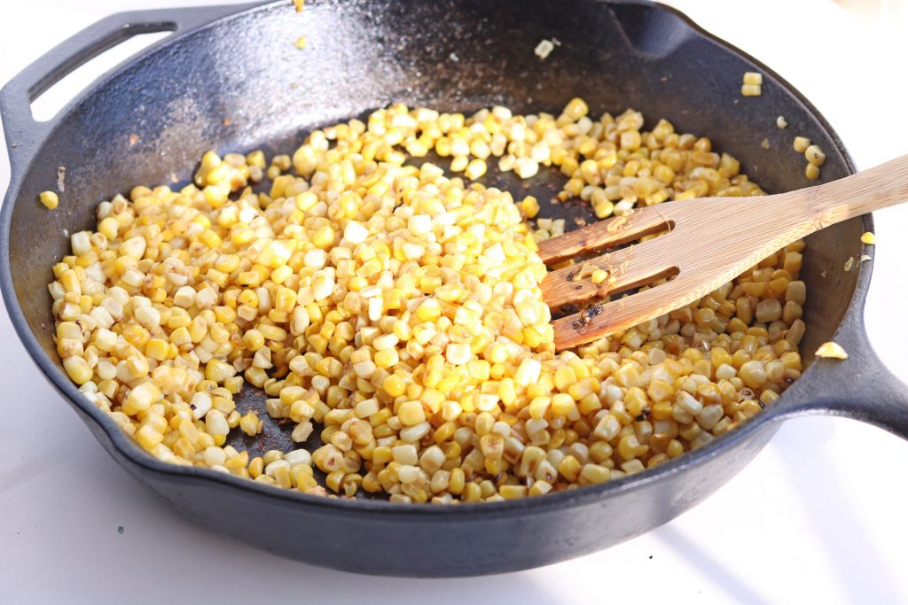 close up roasting corn for the salad