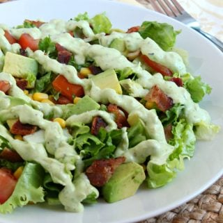 BLT Chopped salad with avocado ranch dressing