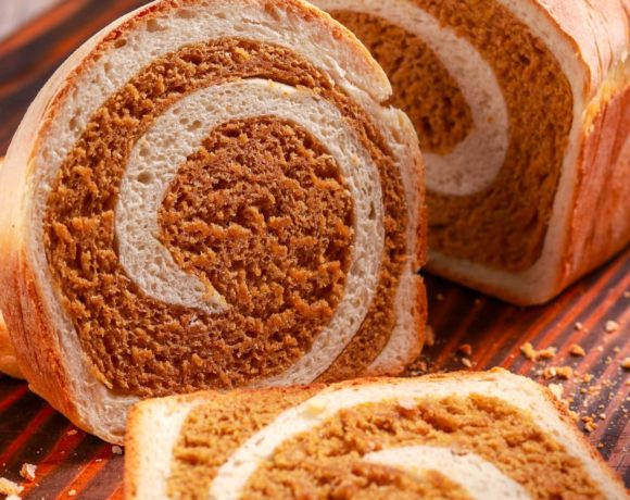 gorgeous marbled homemade bread! Rye loaf swirled with white bread loaf. Simple and pretty!