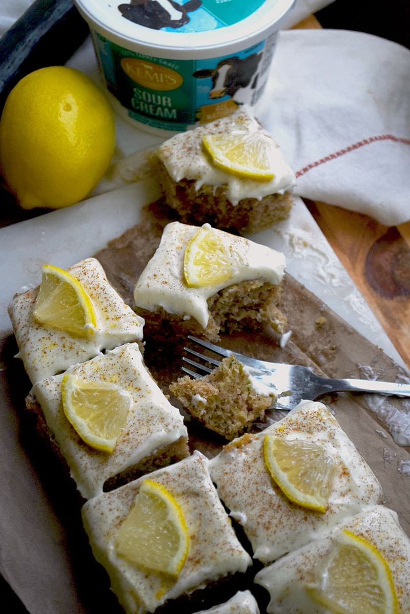 sour cream zucchini bars with lemon cream cheese frosting