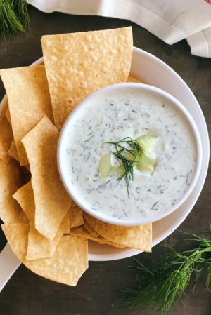 an easy, cool, and creamy cucumber dill dip made with greek yogurt.