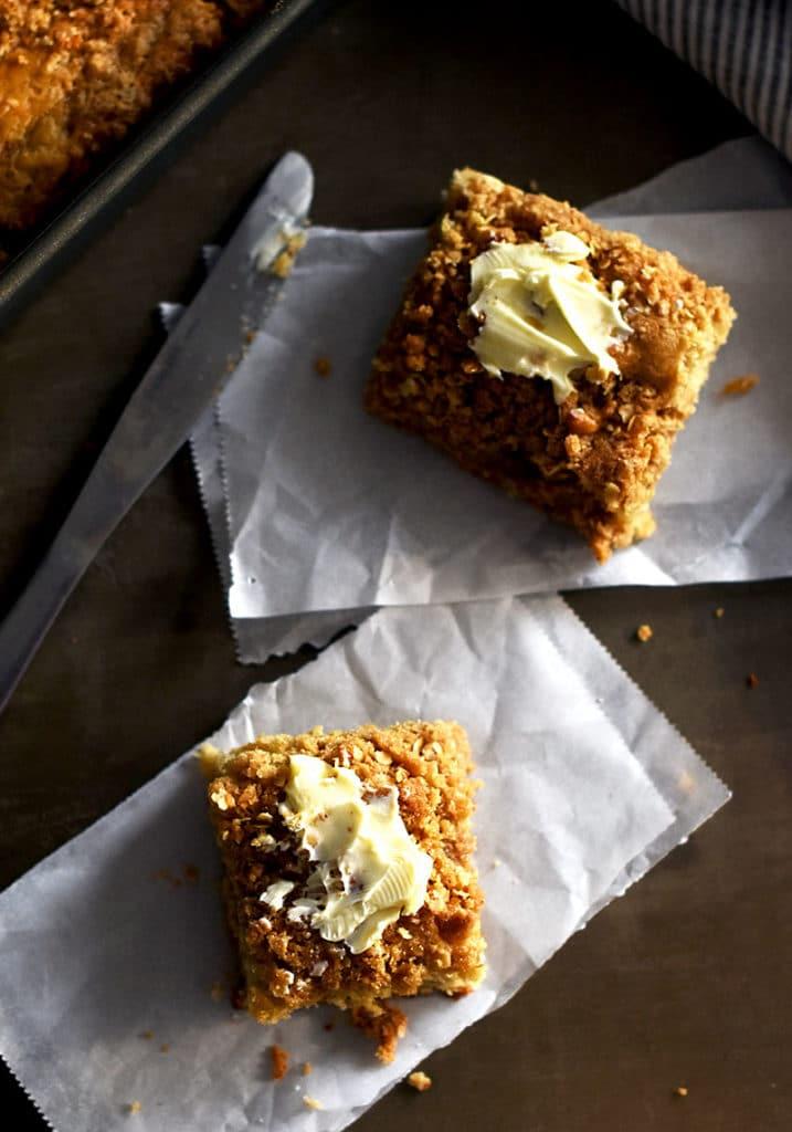Cinnamon Streusel Coffeecake made with oat flour.