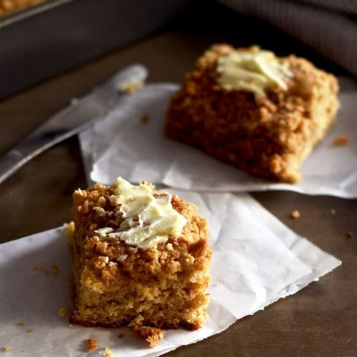 Coffee Cake made with oat flour is absolutely delicious and gluten-free. Easy to make!