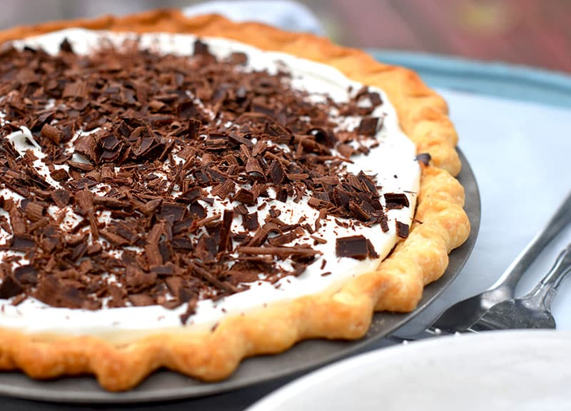 A Dark Chocolate Satin Pie. Similar to a classic French Silk Pie but with decadent dark chocolate. A smooth, rich pie!