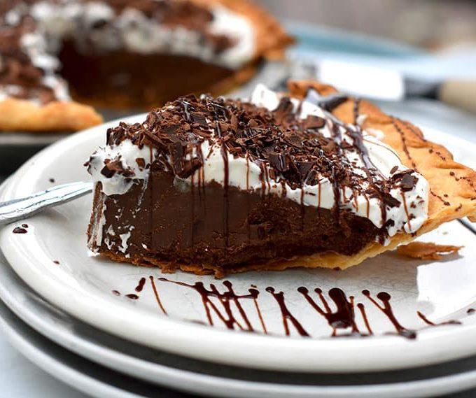 Dark Chocolate Satin pie is like a French Silk Pie but richer, made with decadent dark chocolate.