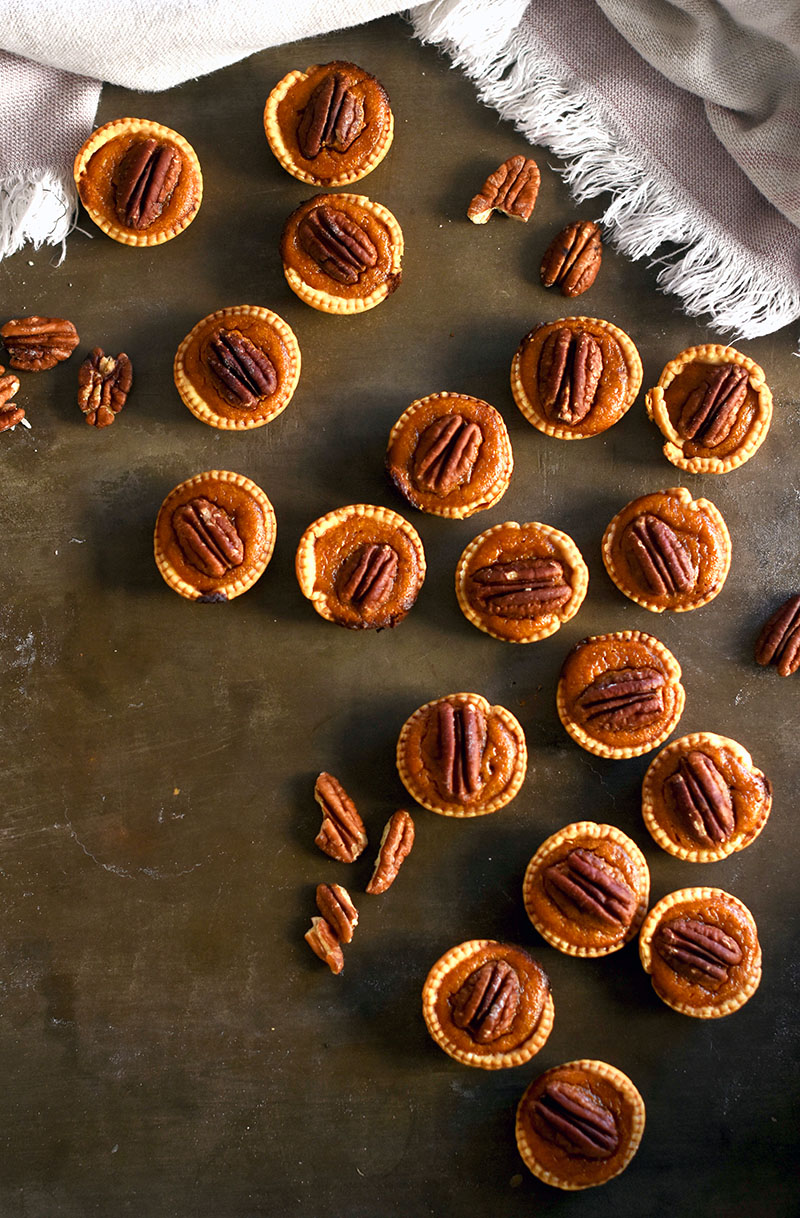 Pecan Pumpkin Pie bites. Mini pumpkin pies with pecans.