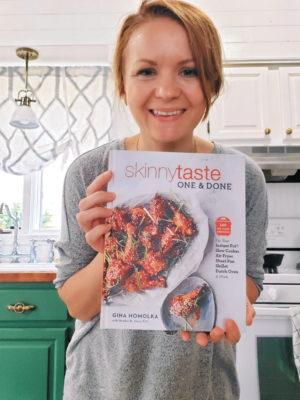 Janel Hutton with SkinnyTaste Cookbook