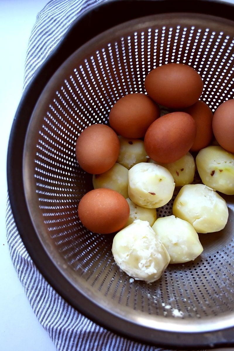 boiled potatoes and eggs for potato salad