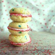 Cake Mix valentine's day cookie sandwiches