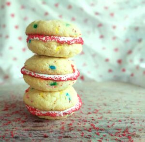 Cake Mix valentine's day cookie sandwiches