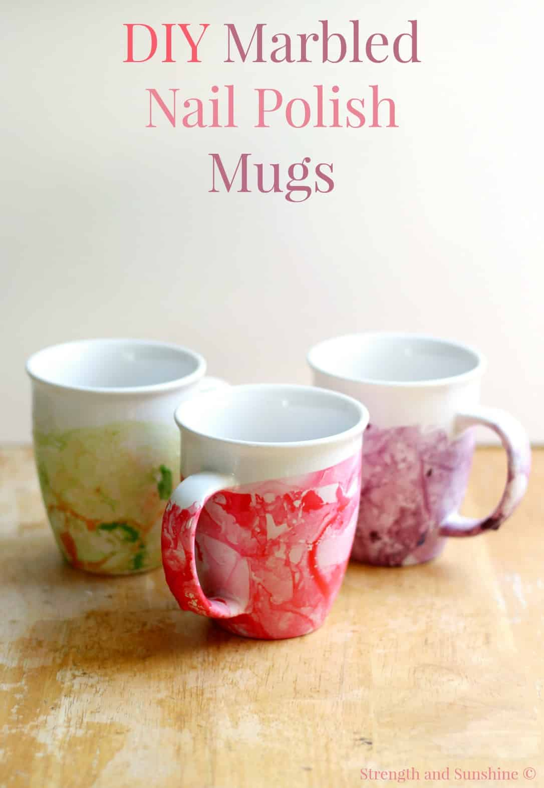 Marbled Nail Polish Mugs by Strength and Sunshine