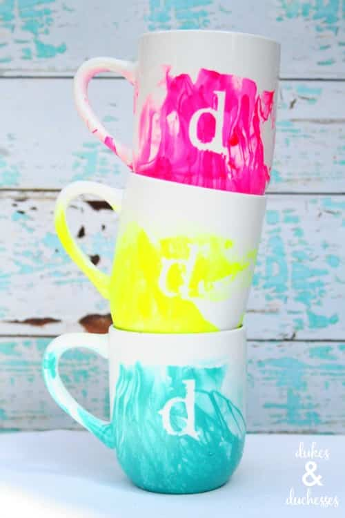 Monogrammed Marbled Mugs by Dukes and Duchesses