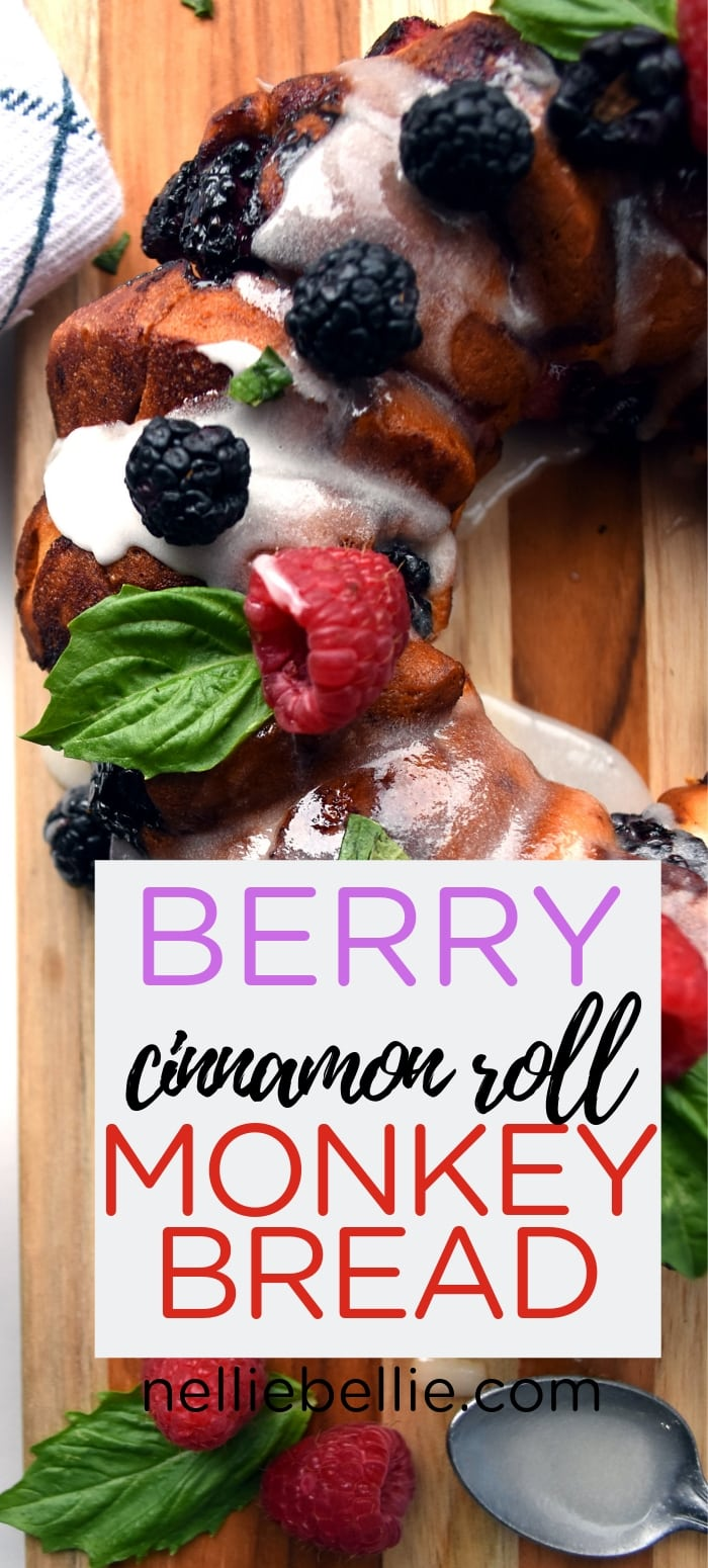 Cinnamon roll monkey bread that is crazy easy to make and, with fresh berries, absolutely amazing!