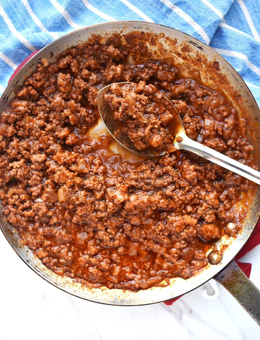 Skip opening a can, use this homemade sloppy joe sauce made in a skillet! Saucy, full of yummy meat, and great tomato flavor!