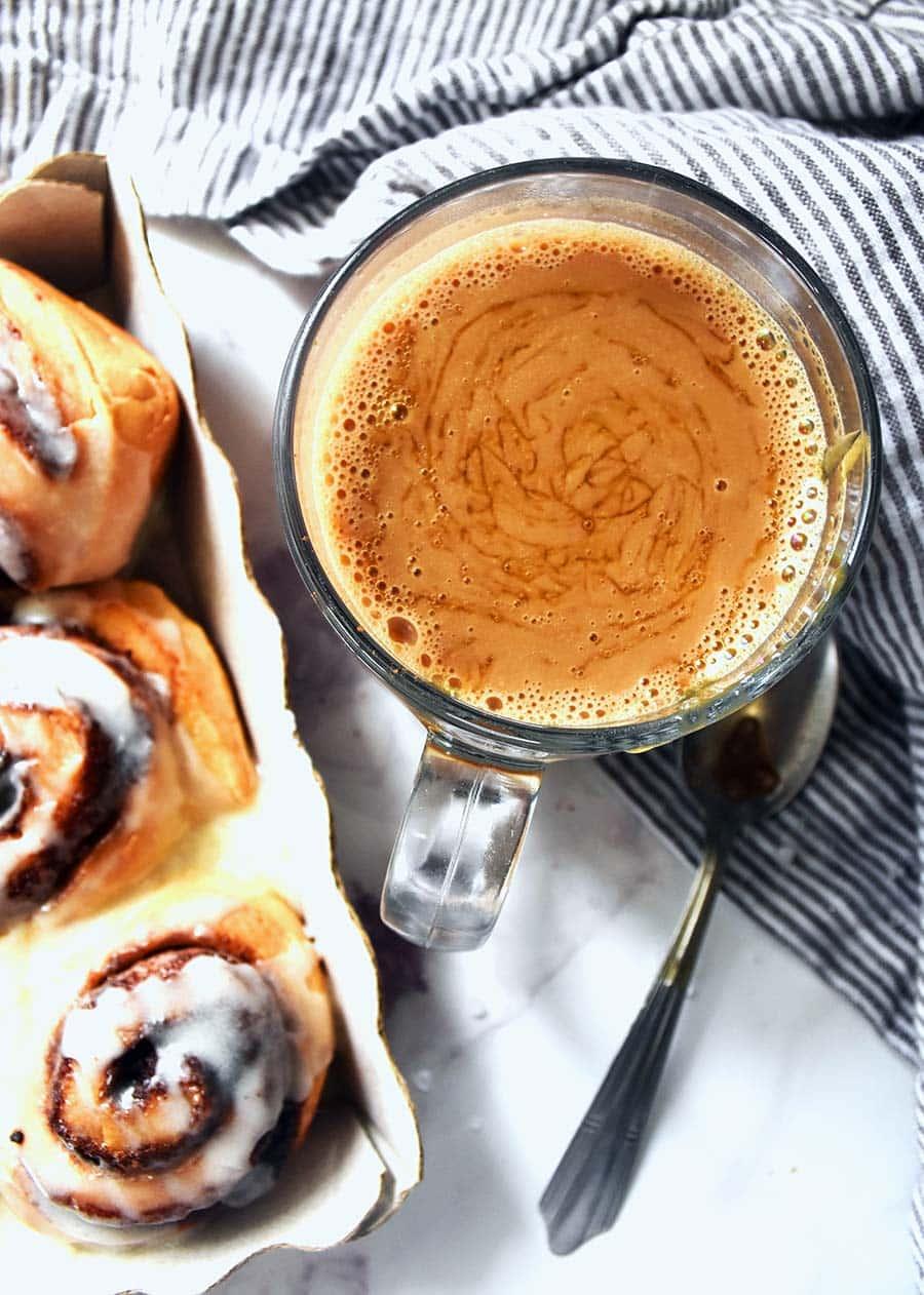 salted caramel mocha with cinnamon rolls