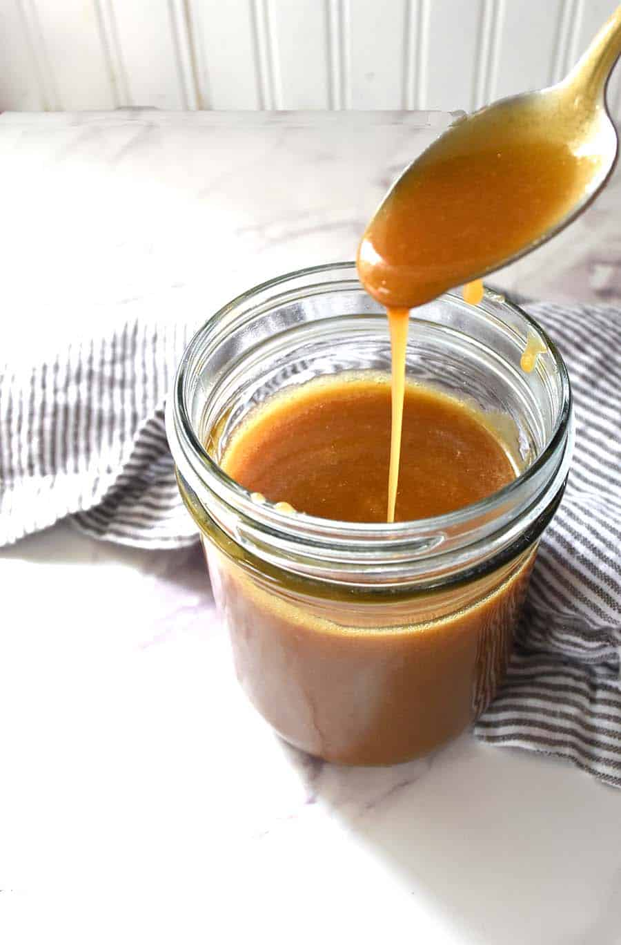 It only takes 5 ingredients to make this yummy caramel sauce!