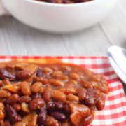 crockpot baked beans on a plate