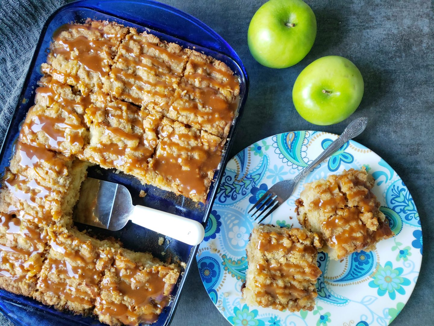 apple coffee cake in a pan