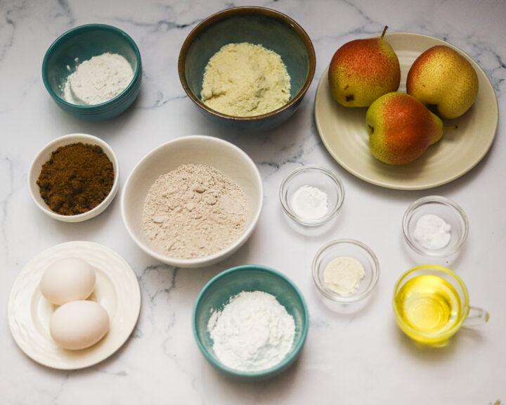 Ingredients for gluten-free pear cake