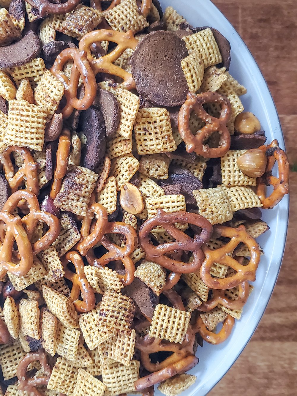 Bowl full of baked chex mix