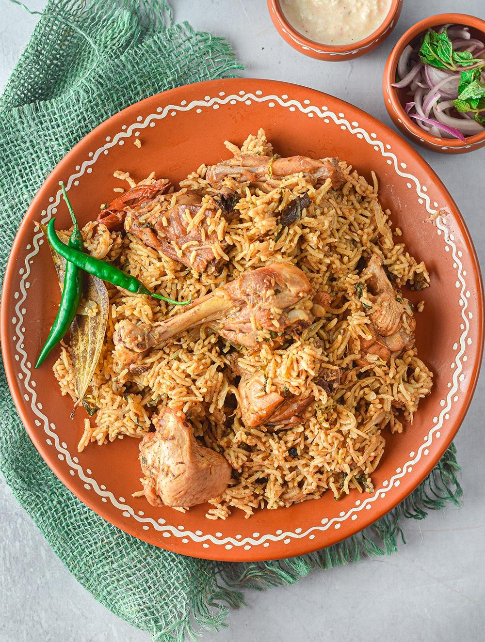 plate of chicken biryani