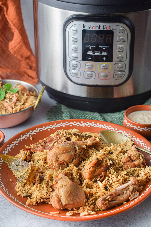 Chicken Biryani made in the instant pot.