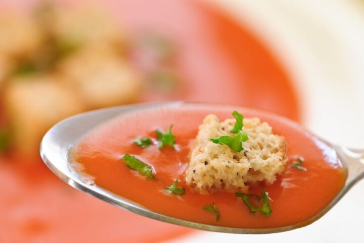 a spoonful of roasted tomato basil soup