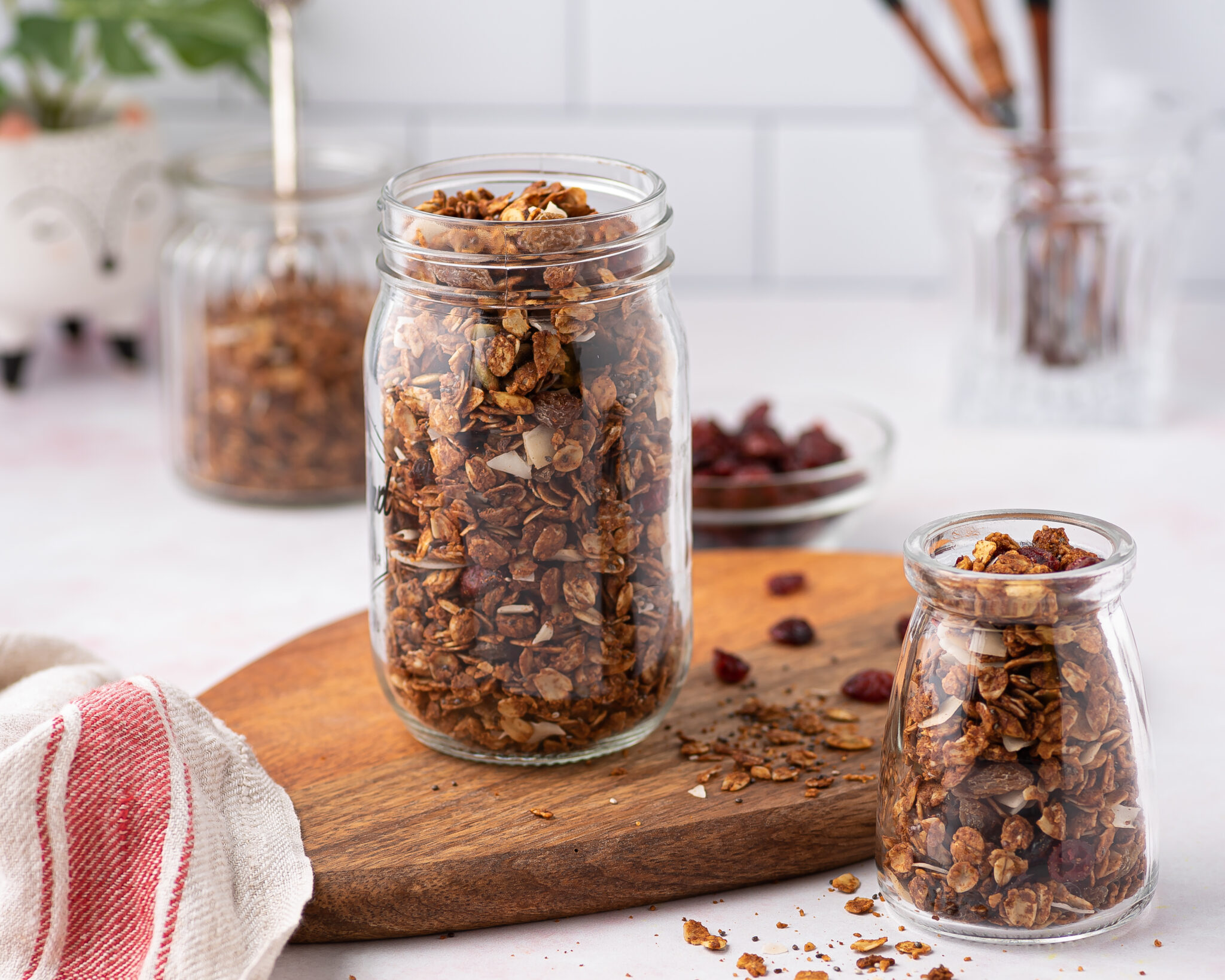 a jar full of homemade granola made in the Air-Fryer
