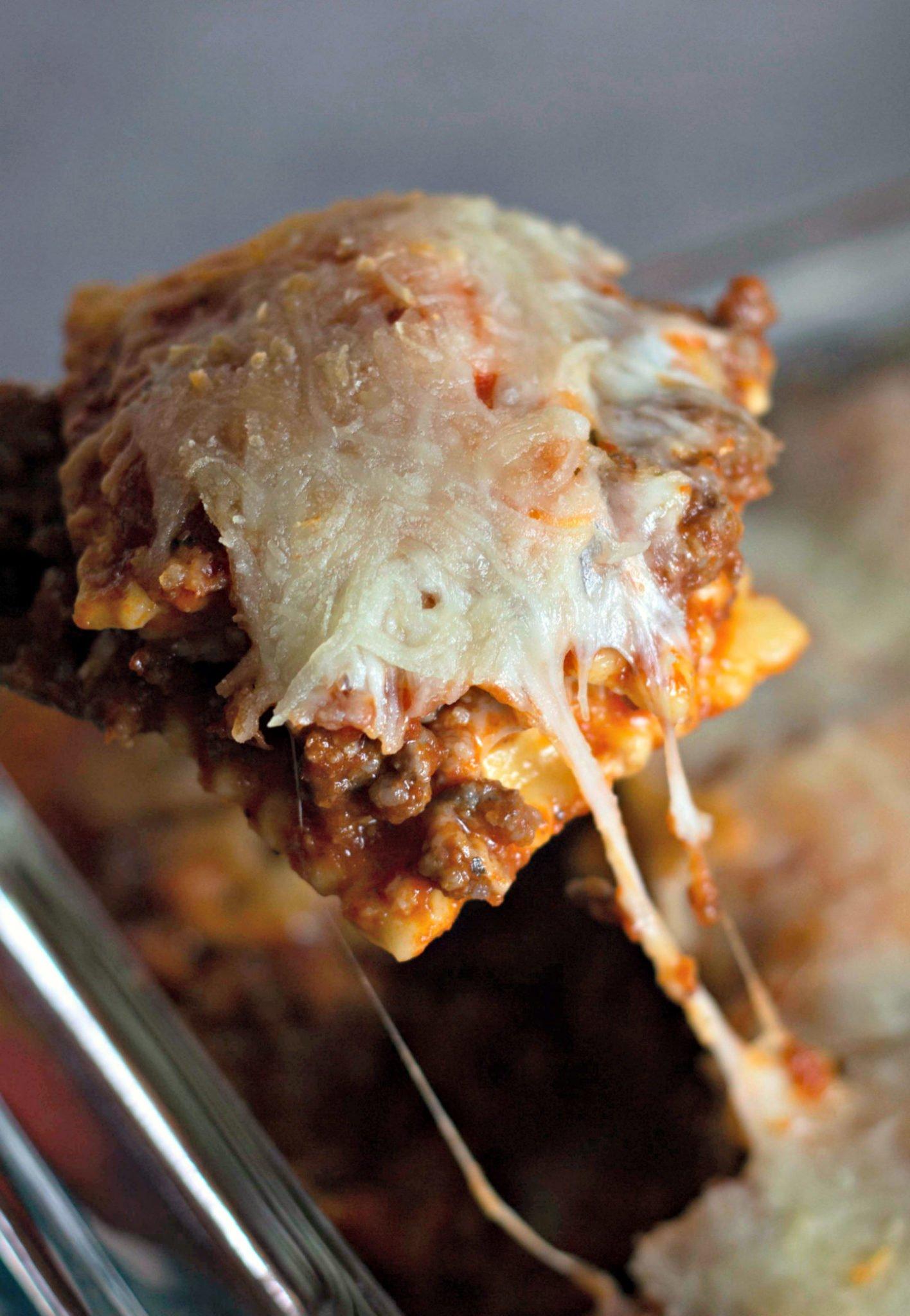 ravioli lasagna on a fork