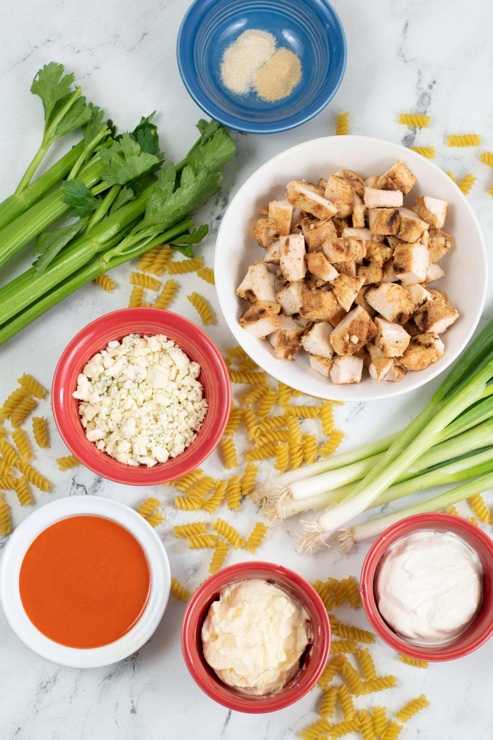 Ingredients for buffalo chicken pasta salad