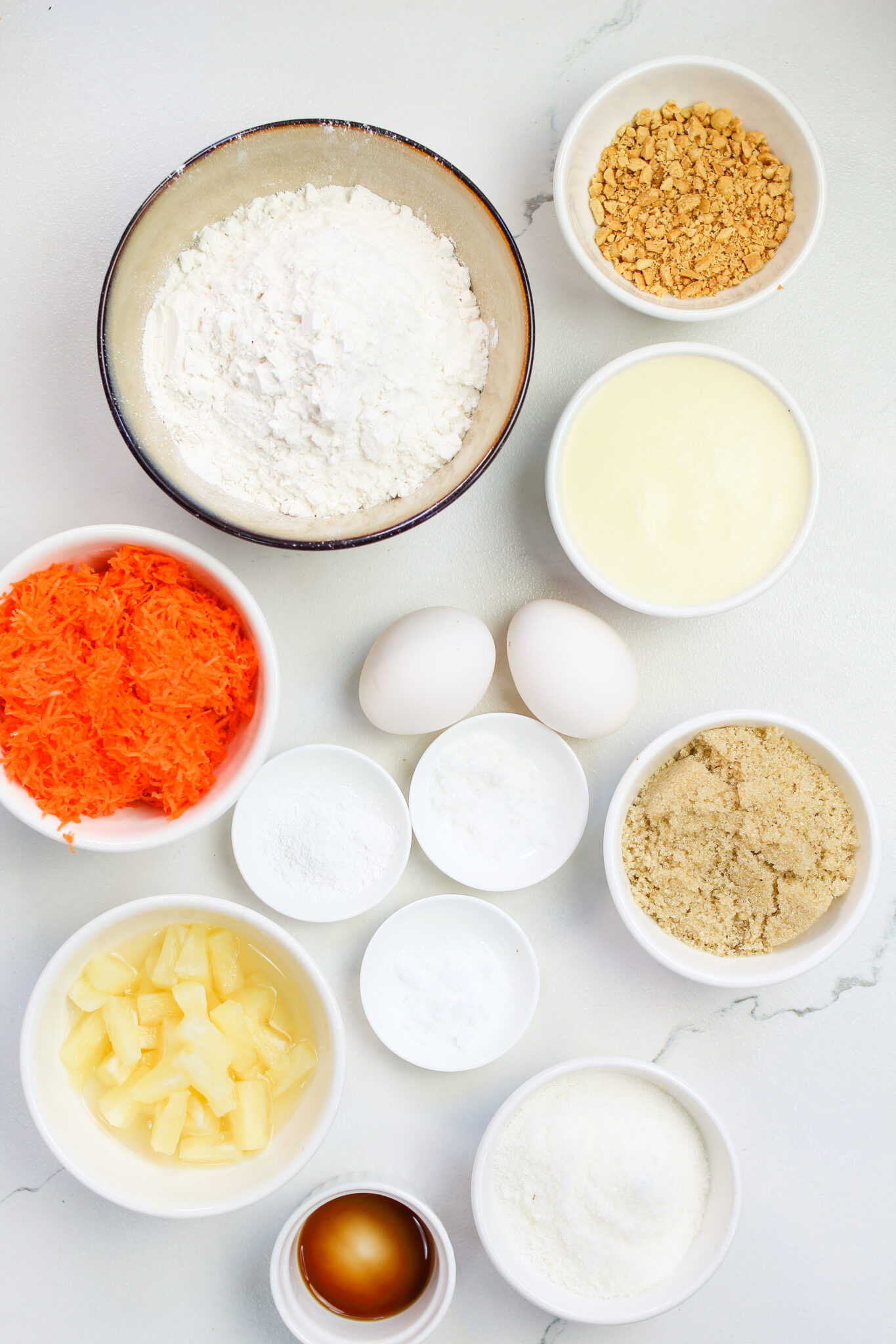 Ingredients for making cupcakes with carrot
