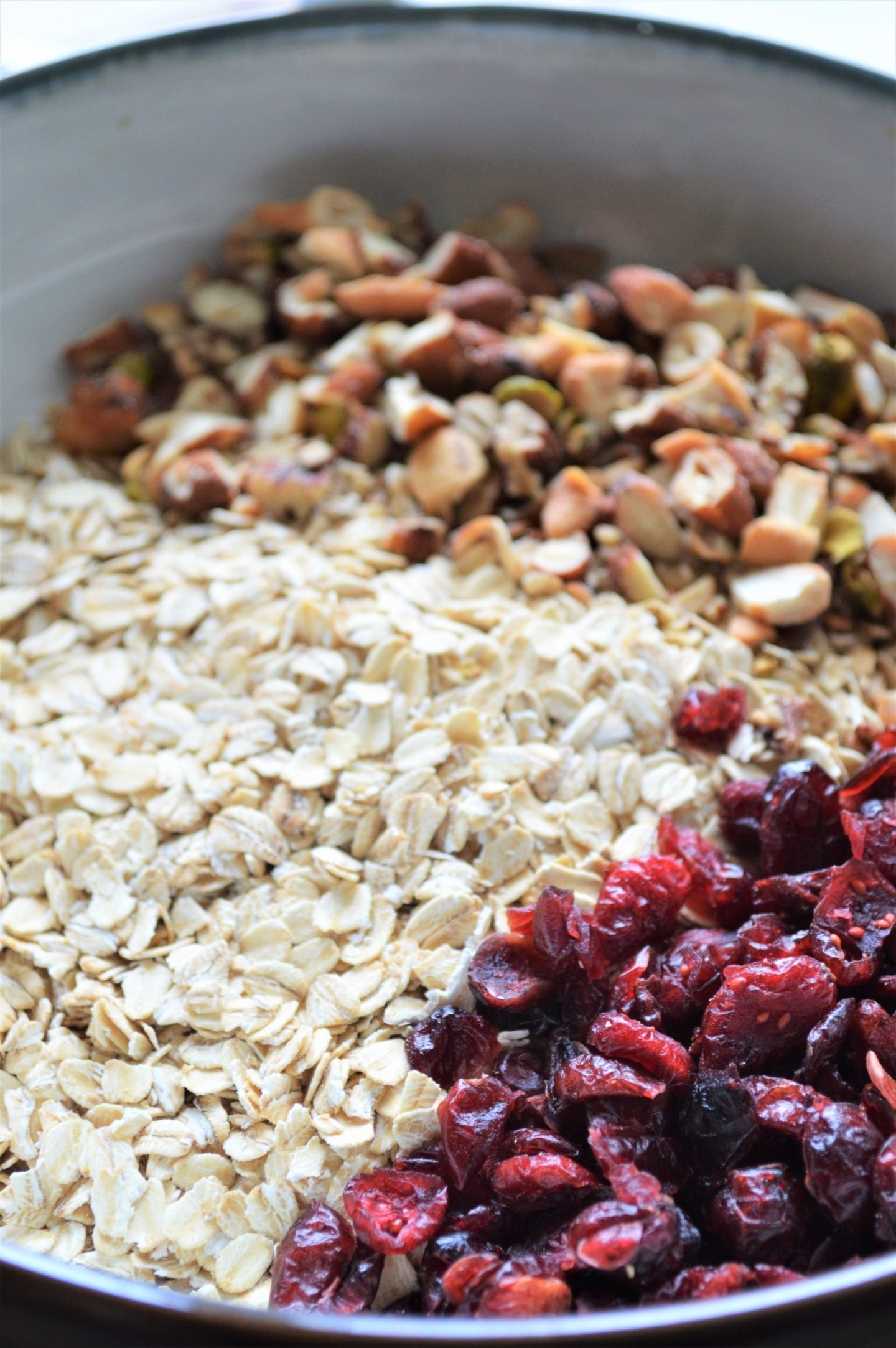 oatmeal, craisins, and nuts for homemade granola