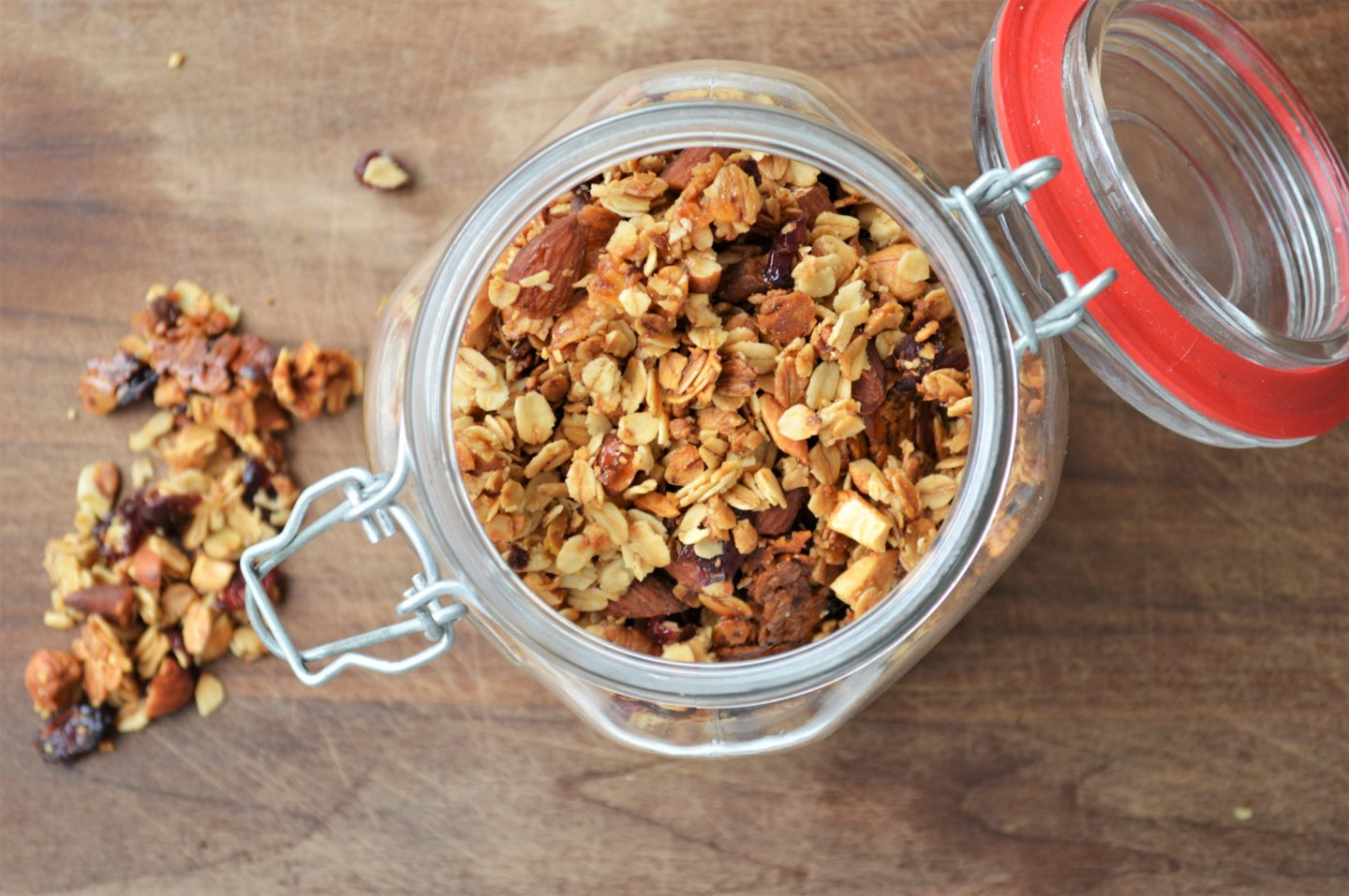 A jar of homemade cranberry nut granola.