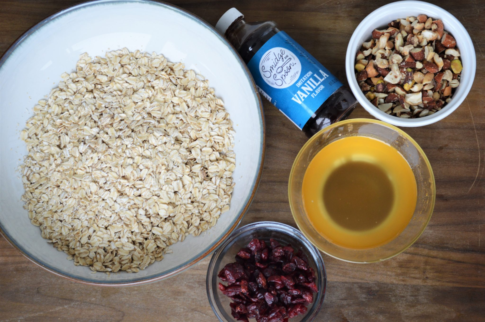 ingredients for homemade cranberry nut healthy granola