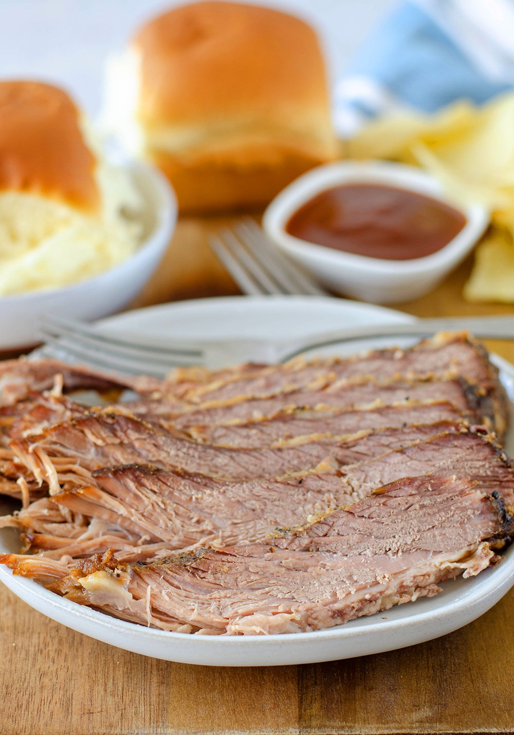 Slow Cooker Beef Brisket Recipe sliced on a plate