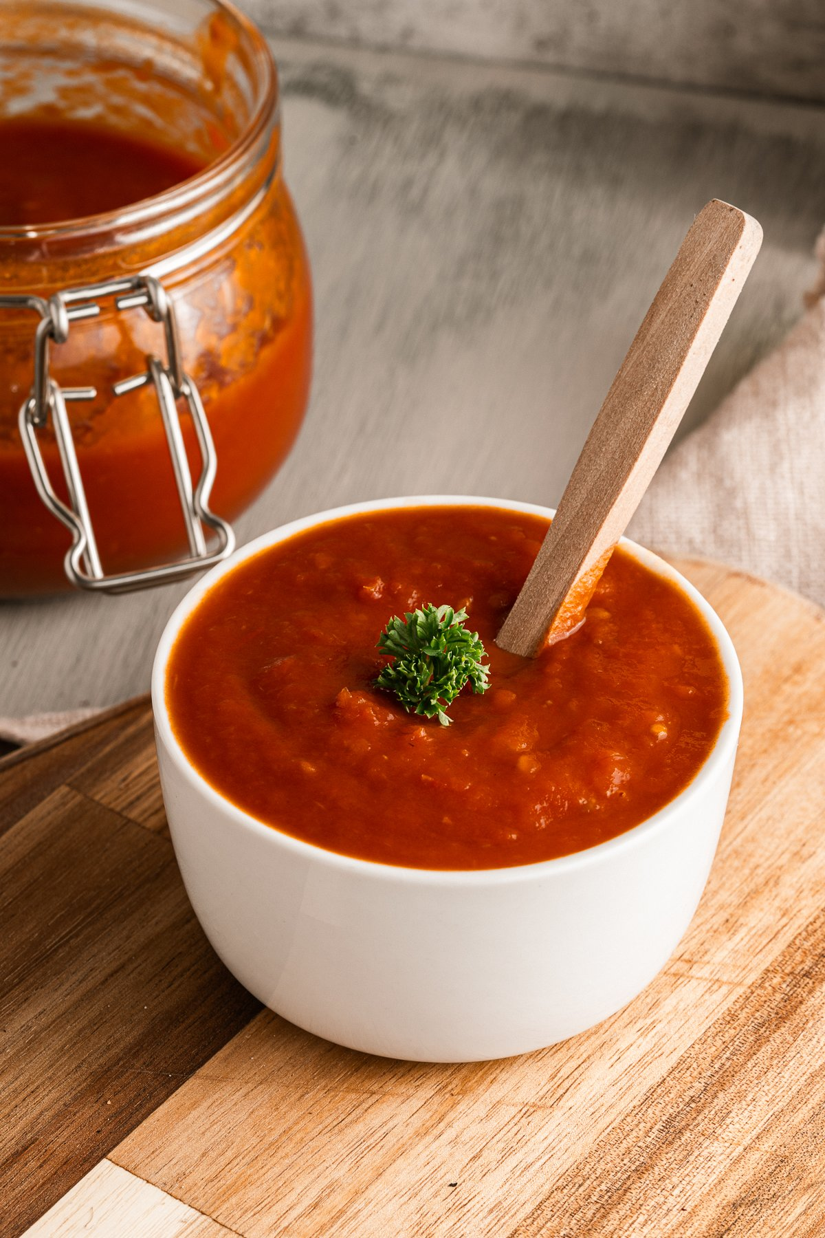 a dish of homemade ketchup